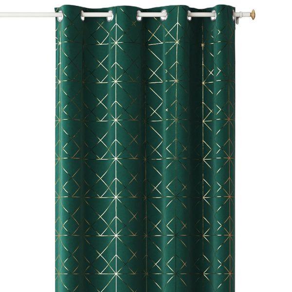 ZASŁONA elegancka ciemna zieleń złota wzory Glamour na przelotkach