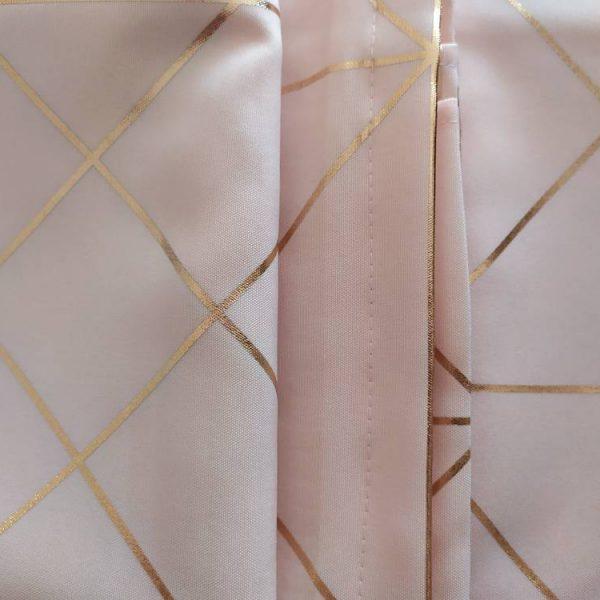 ZASŁONA elegancka pudrowy róż złote wzory Glamour na przelotkach