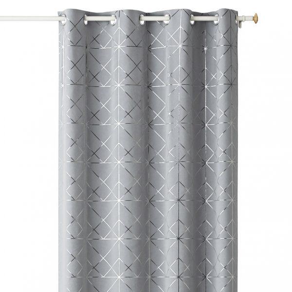 ZASŁONA Glamour elegancka szara srebrne wzory na przelotkach