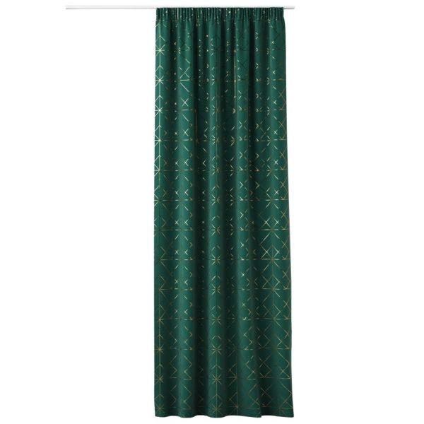 ZASŁONA zielona złote wzory na taśmie elegancka Glamour