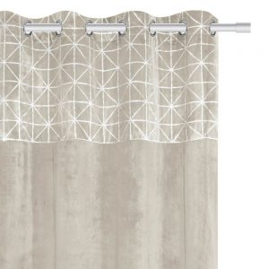 Zasłona welwetowa beżowa srebrna geometryczny wzór 140x250