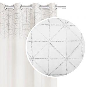 Zasłona velvetowa biała ze srebrnym nadrukiem 140x250