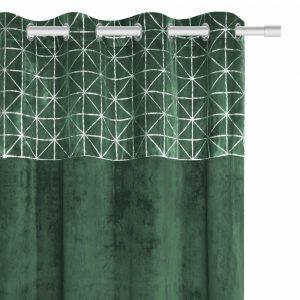 Zasłona butelkowa zieleń ze srebrnym wzorem 140x250 welwetowa