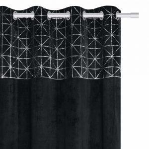 Zasłona velvetowa czarna ze srebrnym wzorem geometryczna 140x250