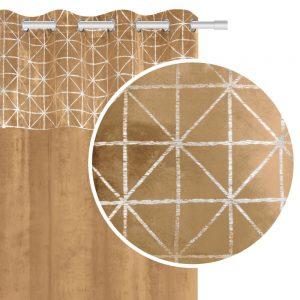 Zasłona welwetowa musztardowa srebrna geometryczny wzór 140x250