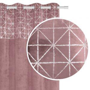 Zasłona velvetowa pudrowy róż ze srebrnym wzorem geometryczna 140x250