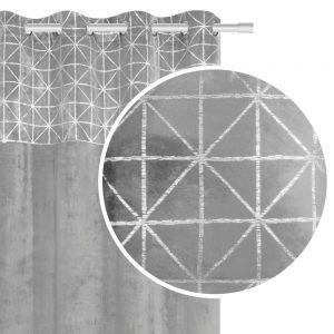 Zasłona velvetowa jasno szara ze srebrnym wzorem geometryczna 140x250
