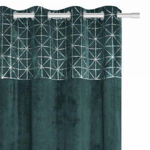Zasłona velvetowa ze srebrnym nadrukiem geometryczna turkusowa 140x250