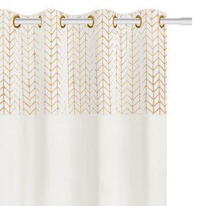 Zasłona welurowa ze złotym wzorem biała w jodełkę 45x45
