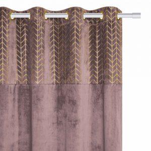 Zasłona różowa welurowa ze złotym wzorem w jodełkę 140x250