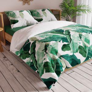 Komplet pościeli satynowej zielona biała w duże liście 160x200