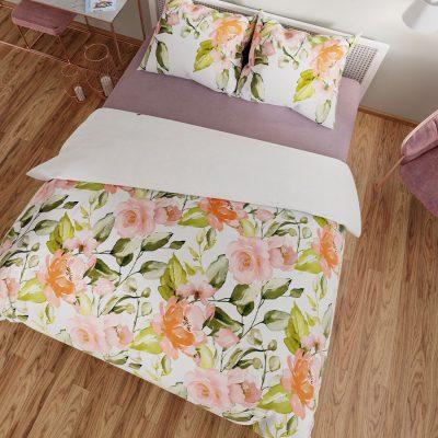 Komplet pościeli satynowej w kwiaty pomarańczowa biała 160x200 bawełniana
