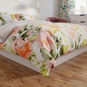 Komplet pościeli satynowej w kwiaty pomarańczowa biała 220x200 bawełniana