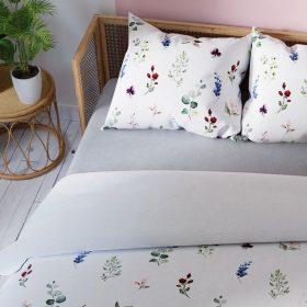Komplet pościeli satynowej biała w drobne kwiaty 160x200 bawełniana