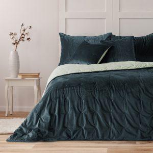 Narzuta ekskluzywna velvetowa szara kremowa dwustronna 170x210