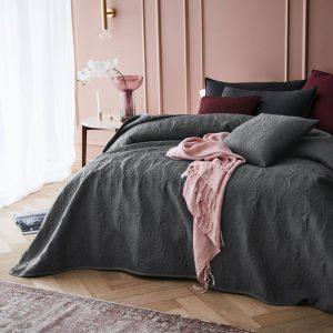 Narzuta na łóżko grafitowa z dekoracyjnym pikowaniem 240x260