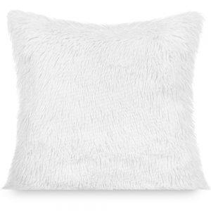 Poszewka dekoracyjna biała futrzana 40x40 włochacz