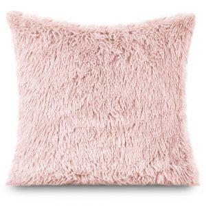 Poszewka włochacz różowa pudrowa 40x40 futrzana włochata