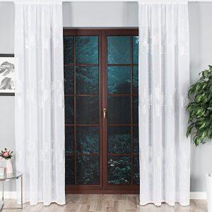 Firana glamour ze srebrnym nadrukiem biała 140x270 liście palmy