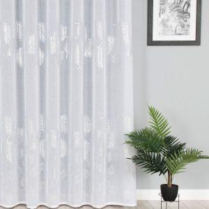 Firana glamour ze srebrnym nadrukiem biała 300x270 liście palmy