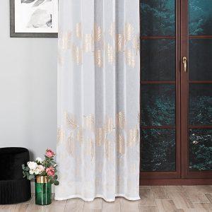 Firana glamour ze złotym nadrukiem biała 140x270 liście palmy
