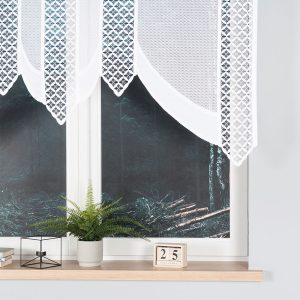 Firanka krótka panelowa biała panel żakardowy 160x120 BERBERA