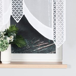Firanka krótka panelowa biała panel żakardowy 160x140 BERBERA