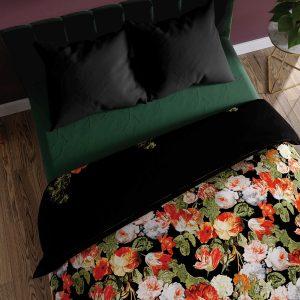 Pościel satynowa czarna w kwiaty 160x200 bawełniana czerwona