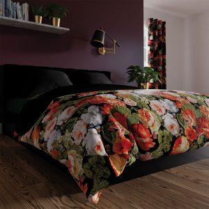 Pościel satynowa czarna w kwiaty 220x200 bawełniana czerwona