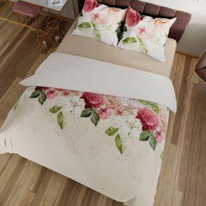 Pościel w kwiaty 160x200 kremowa satynowa bawełniana pudrowy róż