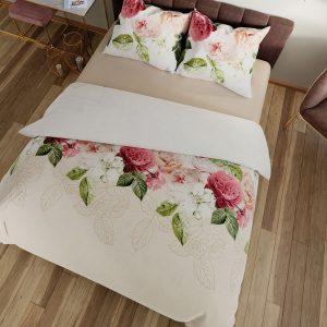 Pościel w kwiaty 220x200 kremowa satynowa bawełniana pudrowy róż