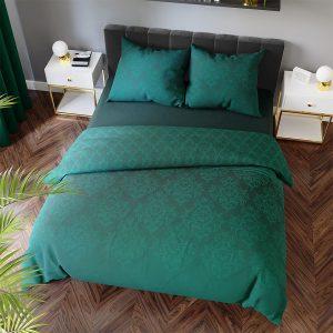 Pościel zielona w stylu glamour satynowa bawełniana 160x200 ornamenty