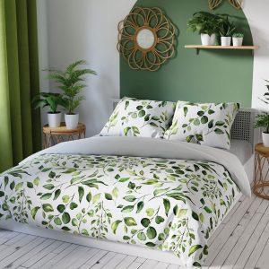 Pościel satynowa zielona biała w drobne listki bawełniana 160x200
