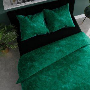 Pościel marmurkowa 160x200 zielona satynowa bawełniana marmur