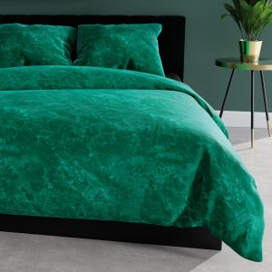 Pościel marmurkowa 220x200 zielona satynowa bawełniana marmur