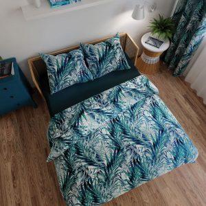 Pościel satynowa tropikalne liście zielony turkus bawełniana 160x200