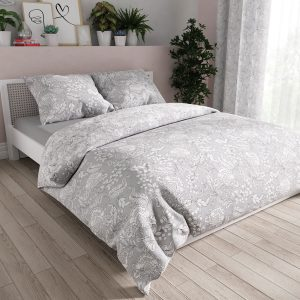 Pościel satynowa szara ornamenty rysunkowe bawełniana biała 160x200