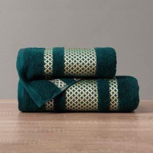 Ręcznik kąpielowy ze złotą bordiurą ciemny turkus 50x90 Lionel