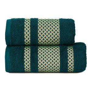 Ręcznik kąpielowy ze złotą bordiurą ciemny turkus 70x140 Lionel