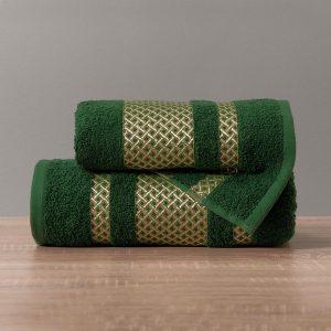 Ręcznik zielony ciemny ze złotą bordiurą kąpielowy 50x90 Lionel
