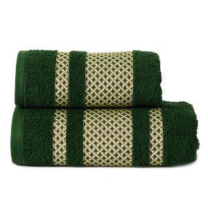 Ręcznik zielony ciemny ze złotą bordiurą kąpielowy 70x140 Lionel