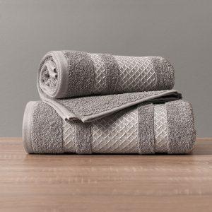 Ręcznik kąpielowy ciemny szary ze srebrną bordiurą 70x140 Silver