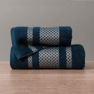Ręcznik granatowy ze srebrną bordiurą kąpielowy 70x140 Silver