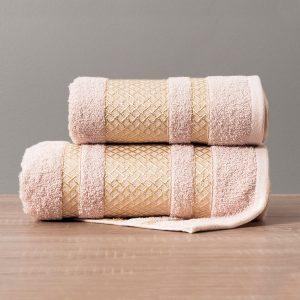 Ręcznik różowy pudrowy ze złotą bordiurą kąpielowy 50x90 Lionel