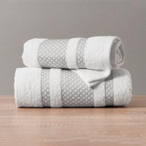 Ręcznik biały ze srebrną bordiurą kąpielowy 70x140 Silver