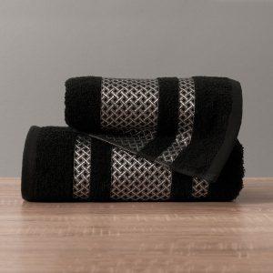 Ręcznik czarny ze srebrną bordiurą kąpielowy 50x90 Silver