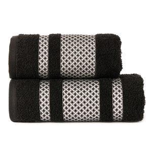Ręcznik czarny ze srebrną bordiurą kąpielowy 70x140 Silver