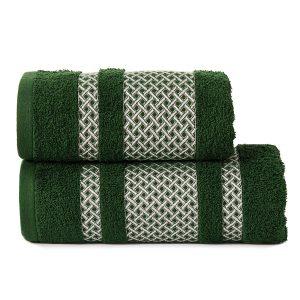 Ręcznik butelkowa zieleń ze srebrną bordiurą kąpielowy 50x90 Silver