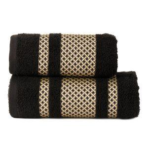 Ręcznik czarny ze złotą bordiurą kąpielowy 70x140 Lionel