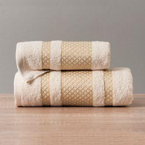 Ręcznik kremowy ze złotą bordiurą kąpielowy 50x90 Lionel